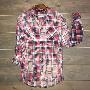 Custom bleached & distressed vtg flannel shirt
